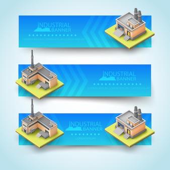 Conjunto de tres banners horizontales de color azul claro con diferentes tipos de edificios industriales
