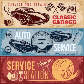 Conjunto de tres banners horizontales de reparación de automóviles retro con descripciones del servicio de garaje clásico y la ilustración de vector de estación de servicio