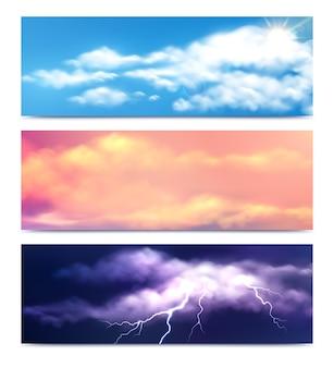 Conjunto de tres banners de nubes horizontales con vistas realistas de la naturaleza.