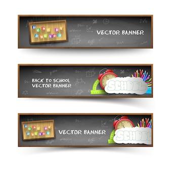 Conjunto de tres banners de pizarra