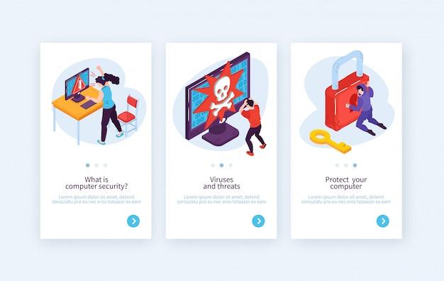 Conjunto de tres banners verticales isométricos de hackers con imágenes conceptuales de personas que piratean sistemas con ilustración de vector de texto