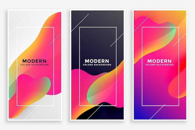 Conjunto de tres banners vibrantes fluidos modernos