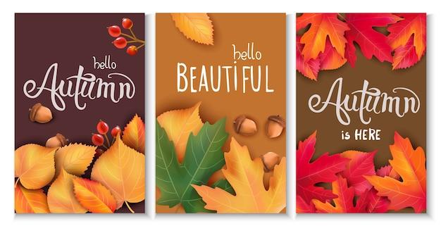 Conjunto de tres cartas con hojas, bellotas y bayas. temática otoñal. hermosa temporada