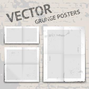 Conjunto de tres carteles de vector grunge diferentes con bordes andrajosos