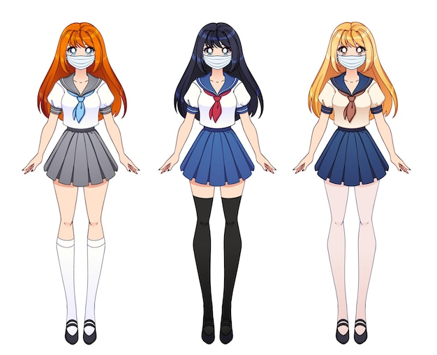 Conjunto de tres chicas anime. chicas lindas con ojos grandes y con uniforme escolar japonés y máscara médica.