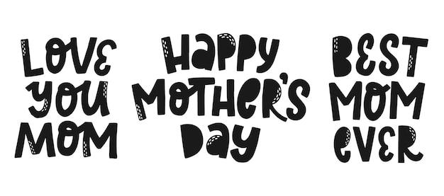 Conjunto de tres citas del día de la madre.