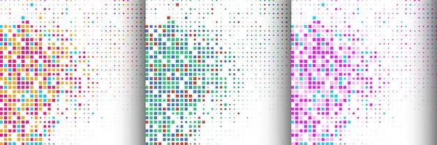 Conjunto de tres colores de fondo de mosaico