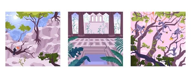 Conjunto de tres composiciones cuadradas con paisajes planos.