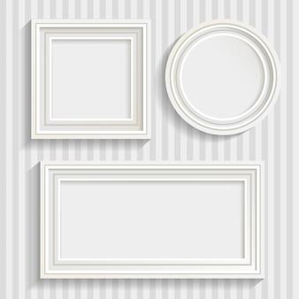 Conjunto de tres cuadros blancos