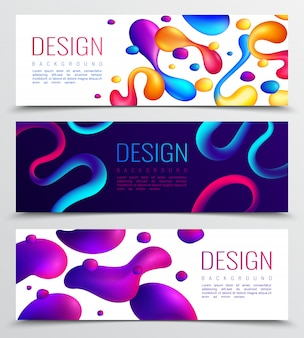 Conjunto de tres diseño abstracto holográfico de neón fluido