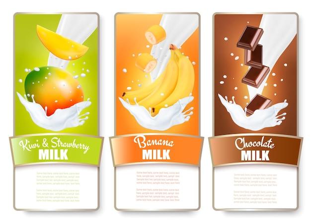 Conjunto de tres etiquetas de frutas en salpicaduras de leche. mango, plátanos, chocolate.