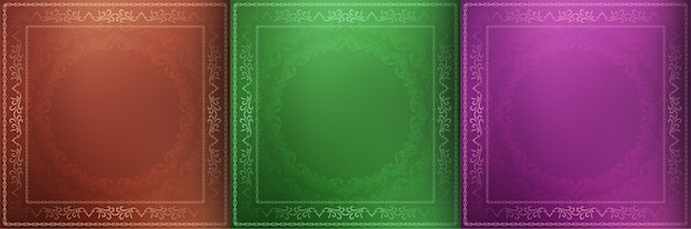 Conjunto de tres fondo decorativo mandala