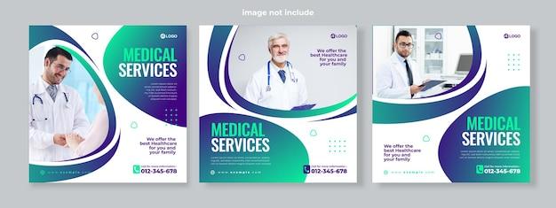 Conjunto de tres fondo geométrico degradado de plantilla de paquete de redes sociales de banner de servicio médico vector premium