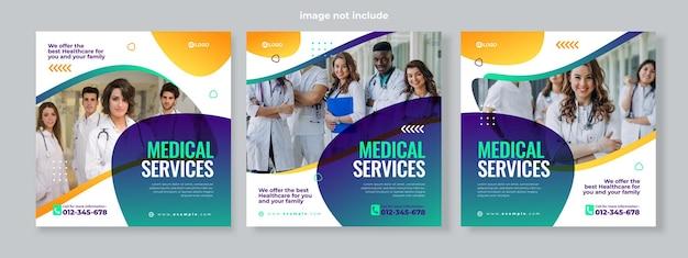 Conjunto de tres fondos fluidos degradados de la plantilla de paquete de redes sociales de banner de servicio médico vector premium