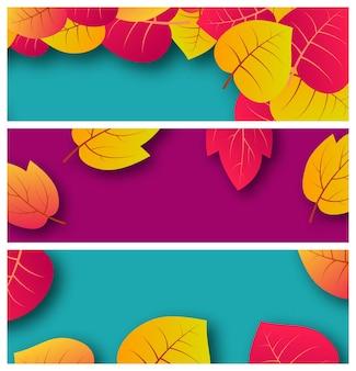 Conjunto de tres fondos con hojas de otoño y lugar para el texto. diseño de banner para banner o cartel de temporada de otoño. ilustración vectorial