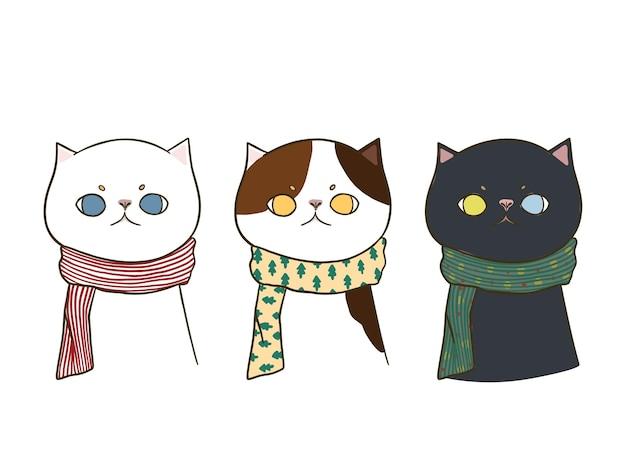 Conjunto de tres gatos lindos doodle dibujados a mano con una bufanda, aislado sobre fondo blanco.