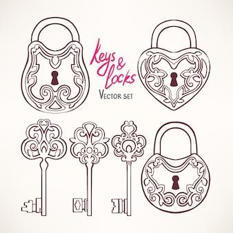 Conjunto con tres hermosas llaves retro y cerraduras con un patrón floral