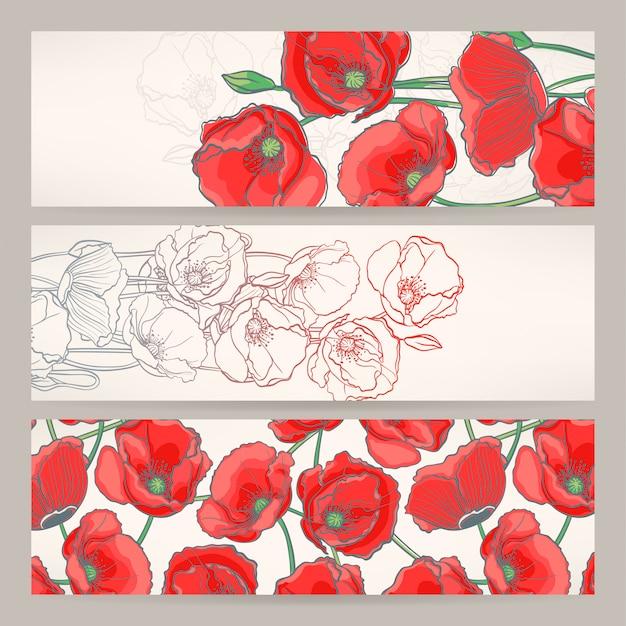 Conjunto de tres hermosas pancartas con amapolas rojas