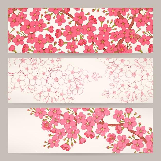 Conjunto de tres hermosas pancartas con flores de cerezo rosa