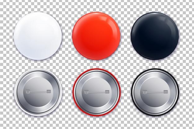 Conjunto de tres iconos transparentes de distintivos diferentes en estilo realista e ilustración de colores negro blanco rojo