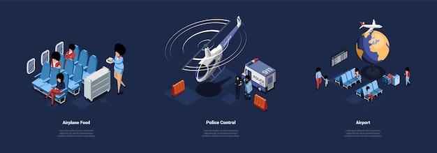 Conjunto de tres ilustraciones relacionadas con el aeropuerto diferentes en estilo de dibujos animados 3d.