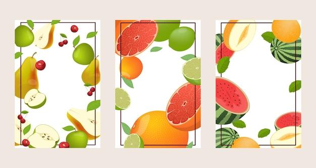 Conjunto de tres marcos de frutas brillantes