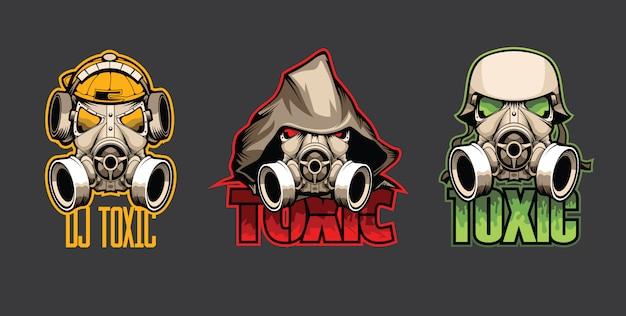 Conjunto de tres máscaras bio con la inscripción tóxico