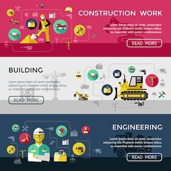 Conjunto de tres pancartas de construcción horizontal con trabajos de construcción, construcción, descripciones de ingeniería, ilustración vectorial