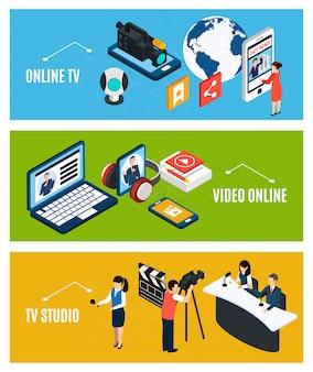 Conjunto de tres pancartas isométricas de video horizontal con gadgets electrónicos y personajes humanos.