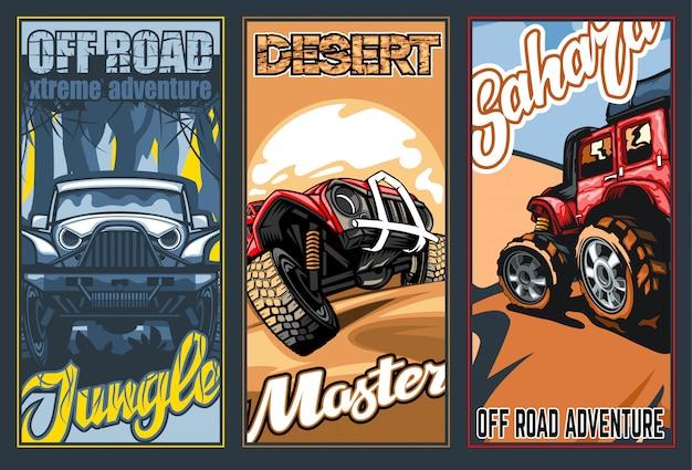 Un conjunto de tres pancartas a todo color sobre el tema de los suv en el desierto y la jungla.