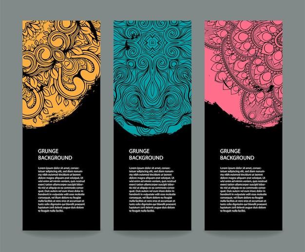 Conjunto de tres pancartas con trazo de pincel circular y patrones.
