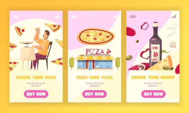 Conjunto de tres pancartas verticales con elegir y ordenar su pizza y elegir la ilustración de vector de descripciones de la cena
