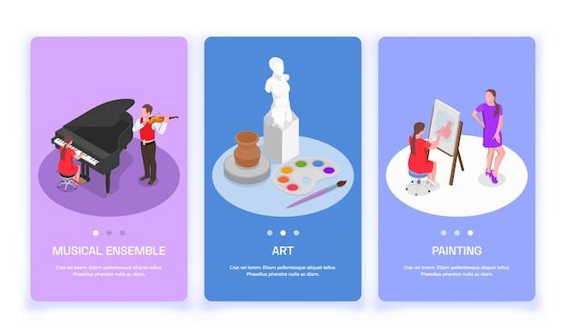 Conjunto de tres pancartas verticales con imágenes y botones isométricos de artistas de profesiones de personas creativas