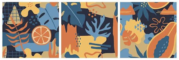 Conjunto de tres patrones abstractos sin costura