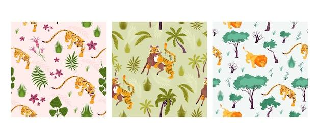 Conjunto de tres patrones cuadrados con animales y plantas.