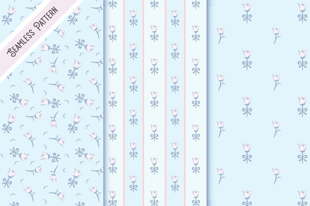 Conjunto de tres patrones sin fisuras florales vintage