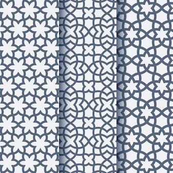 Conjunto de tres patrones geométricos árabes
