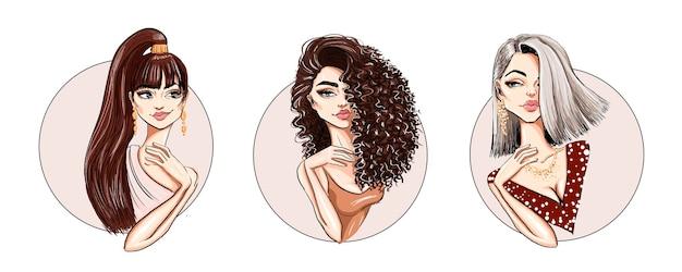Conjunto de tres peinados geniales con hermosa modelo elegante