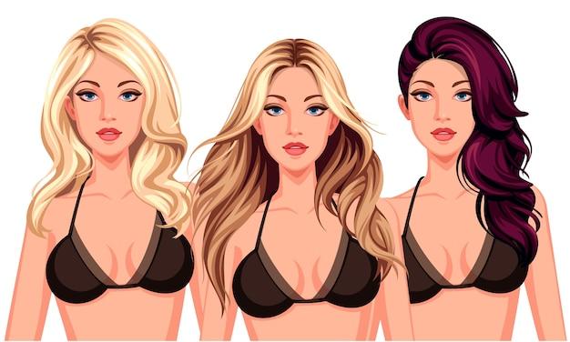 Conjunto de tres peinados geniales con hermosas modelos.