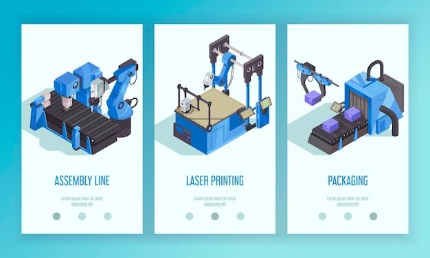 Conjunto de tres plantillas de banner de automatización de robot isométrico vertical con descripción de empaquetado e impresión láser de línea de ensamblaje