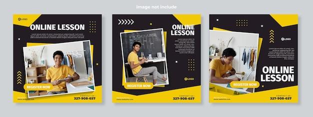 Conjunto de tres plantillas de paquete de medios sociales de educación o lección en línea con cuadrados negros amarillos