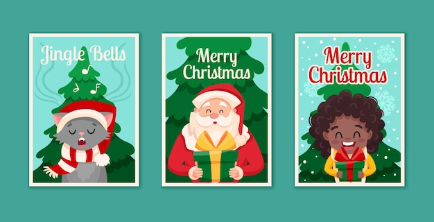 Conjunto de tres tarjetas concepto feliz navidad y feliz año nuevo. personajes de dibujos animados lindo santa claus, feliz niña negra africana y gato.