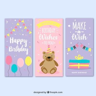 Conjunto de tres tarjetas de cumpleaños en rosa y lila