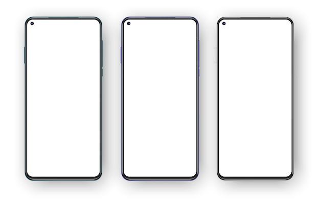 Conjunto de tres teléfonos sin marco aislado sobre fondo blanco.