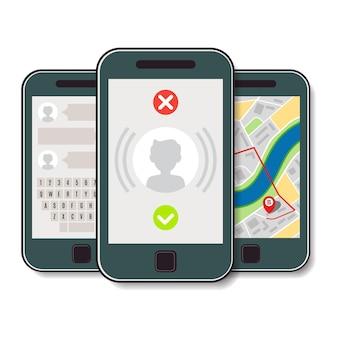 Conjunto de tres teléfonos móviles. teléfono móvil con llamada entrante, mapa de la ciudad y chat. ilustración vectorial