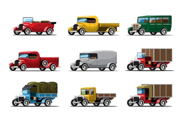 Conjunto de tres tipos de coches de trabajo en estilo vintage o antiguo en blanco