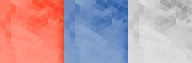 Conjunto de tres triángulos de trama de fondo