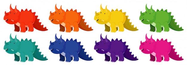 Conjunto de triceratops en ocho colores diferentes.