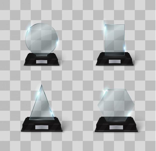 Conjunto de trofeos de cristal