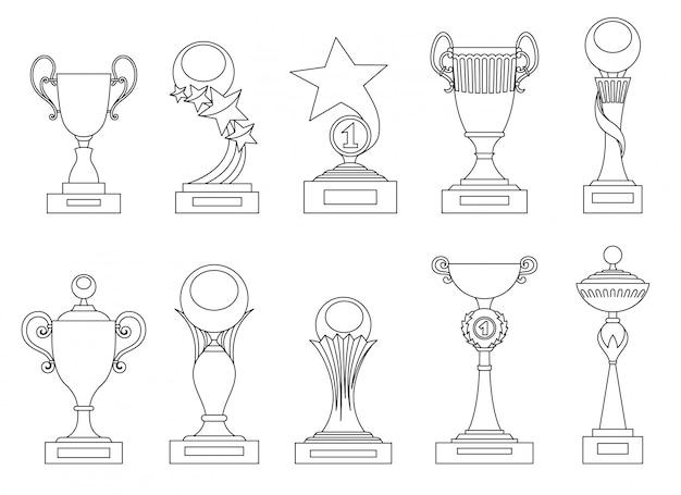 Conjunto de trofeos deportivos y premios de siluetas para diseño.